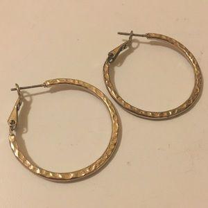 Gold Textured Hoop Earrings (3cm diameter)